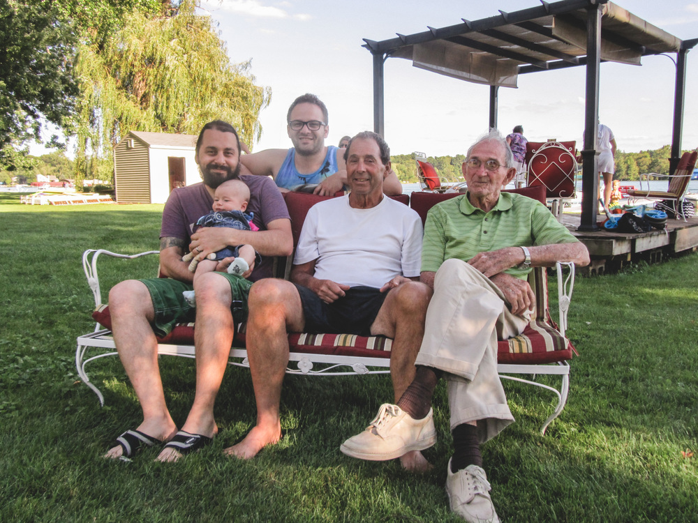 This is a special photo -- four generations of Garbers sitting together. From left, they are Josh, Asher, Jordan (he's single, ladies), Jerry, and Grandpa Bob. We had a great time reconnecting with family at the lake in Michigan!