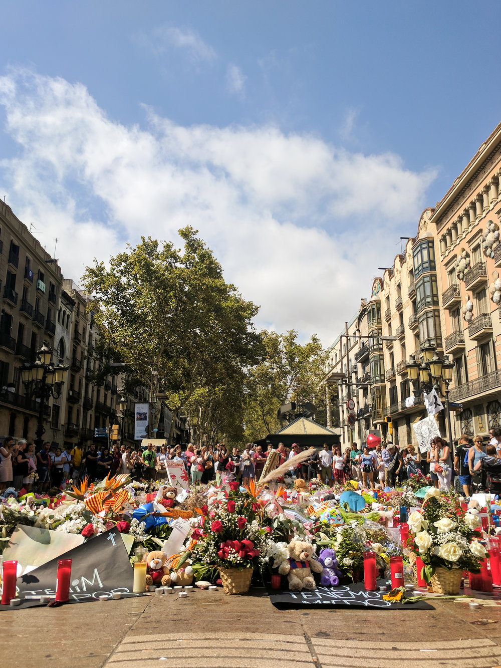 On Monday after class we visited the Las Ramblas memorial, which is located on the exact spot the attackers' van stopped.