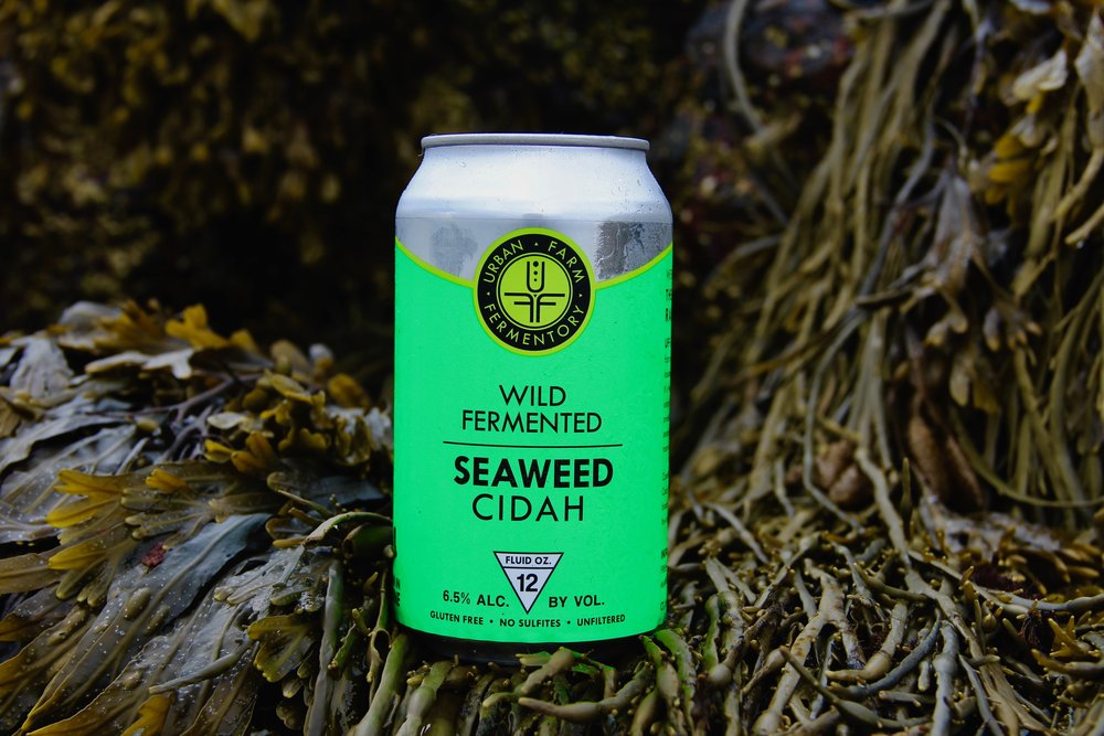 Seaweed Cidah is made from all local dulse and sea lettuce, a very unique cider with notes of low tide.
