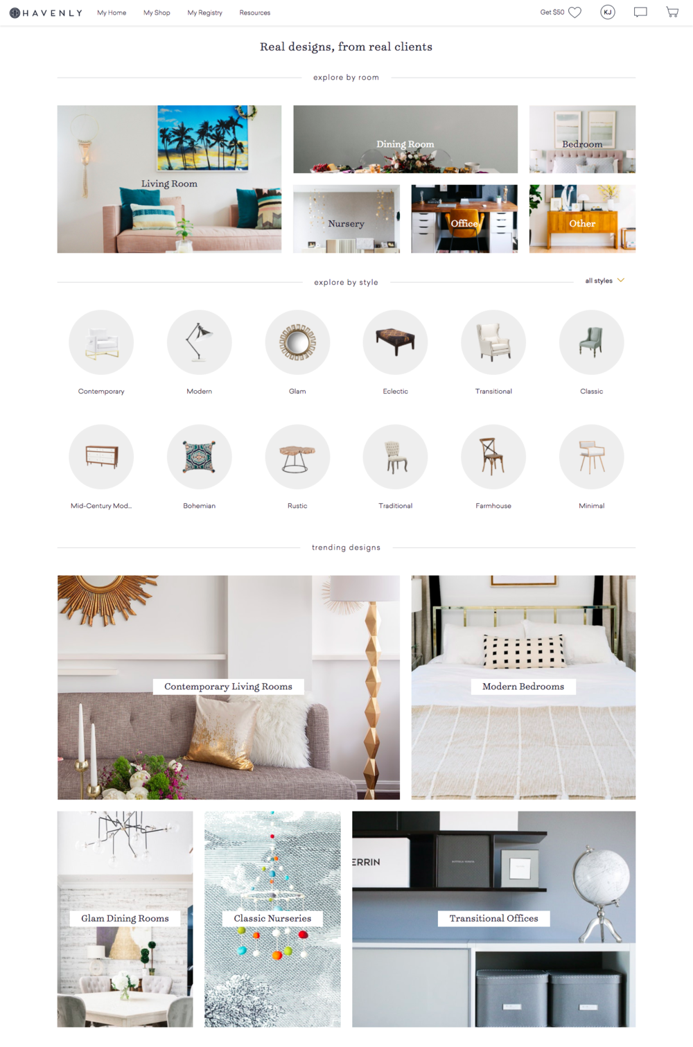 """V2 of Interior Design Ideas. The categories for """"trending designs"""" is based off our most popular filter combinations."""