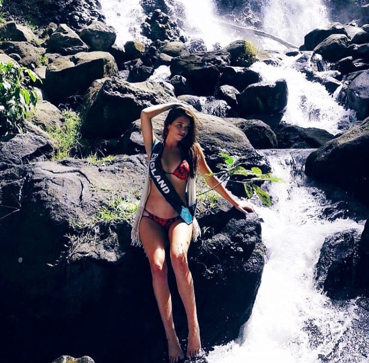 ''Every Rock through in Life is a Stepping Stone'' - Luissa Burton, Miss England BTS shooting at illigan Falls wearing LIAR THE LABEL  IVY Bikini Top  and  IVY Pant  for Miss Earth