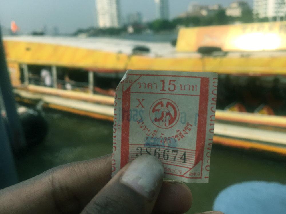 15 baht (less than a $1 AU ) Ferry in Bangkok