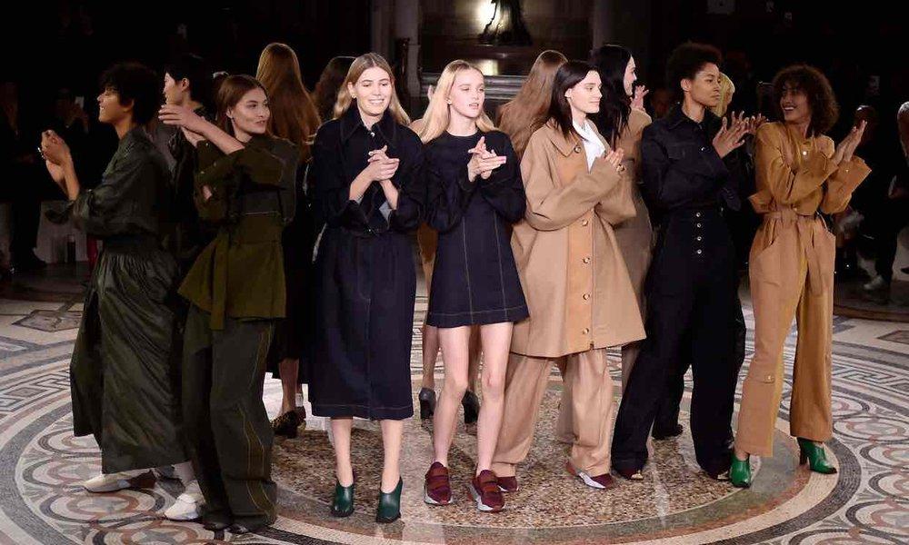 Stella McCartney showcases 'skin-free' leather range in Paris.