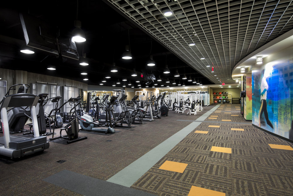 Full-service fitness center with cardio and weights