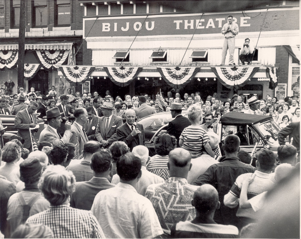Dwight Eisenhower in front of The Bijou in 1955.