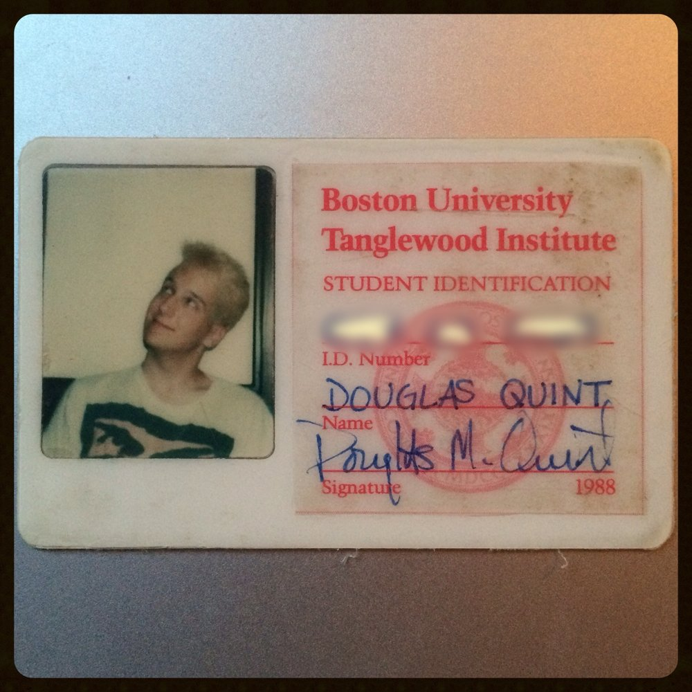 Edited 9/30 to add: holy crap, I found my Boston University Tanglewood Institute ID. I arrived platnum blonde but a few days later I stuck me head into a bucket of blue RIT dye.