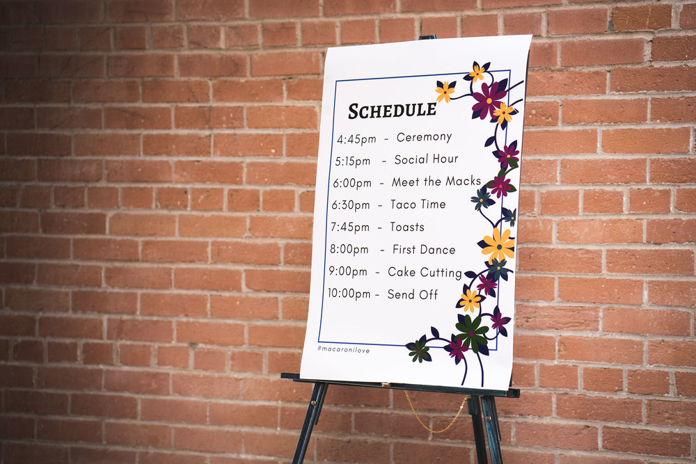 wedding schedule sign ideas