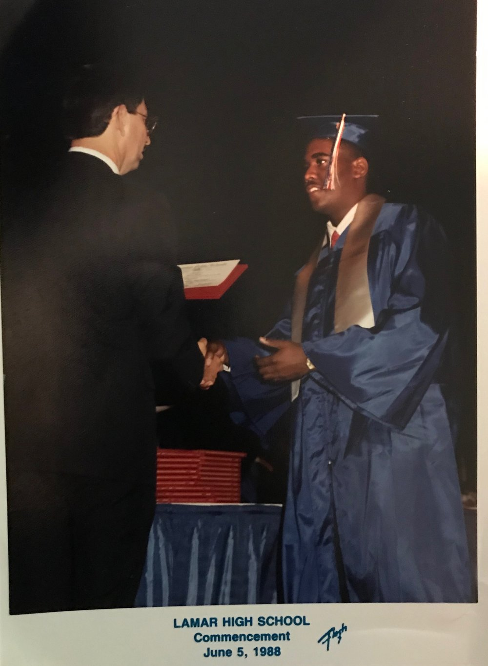 Dennis Stoot graduates from Lamar High School on June 5, 1988. His knowledge and memory will never be forgotten.