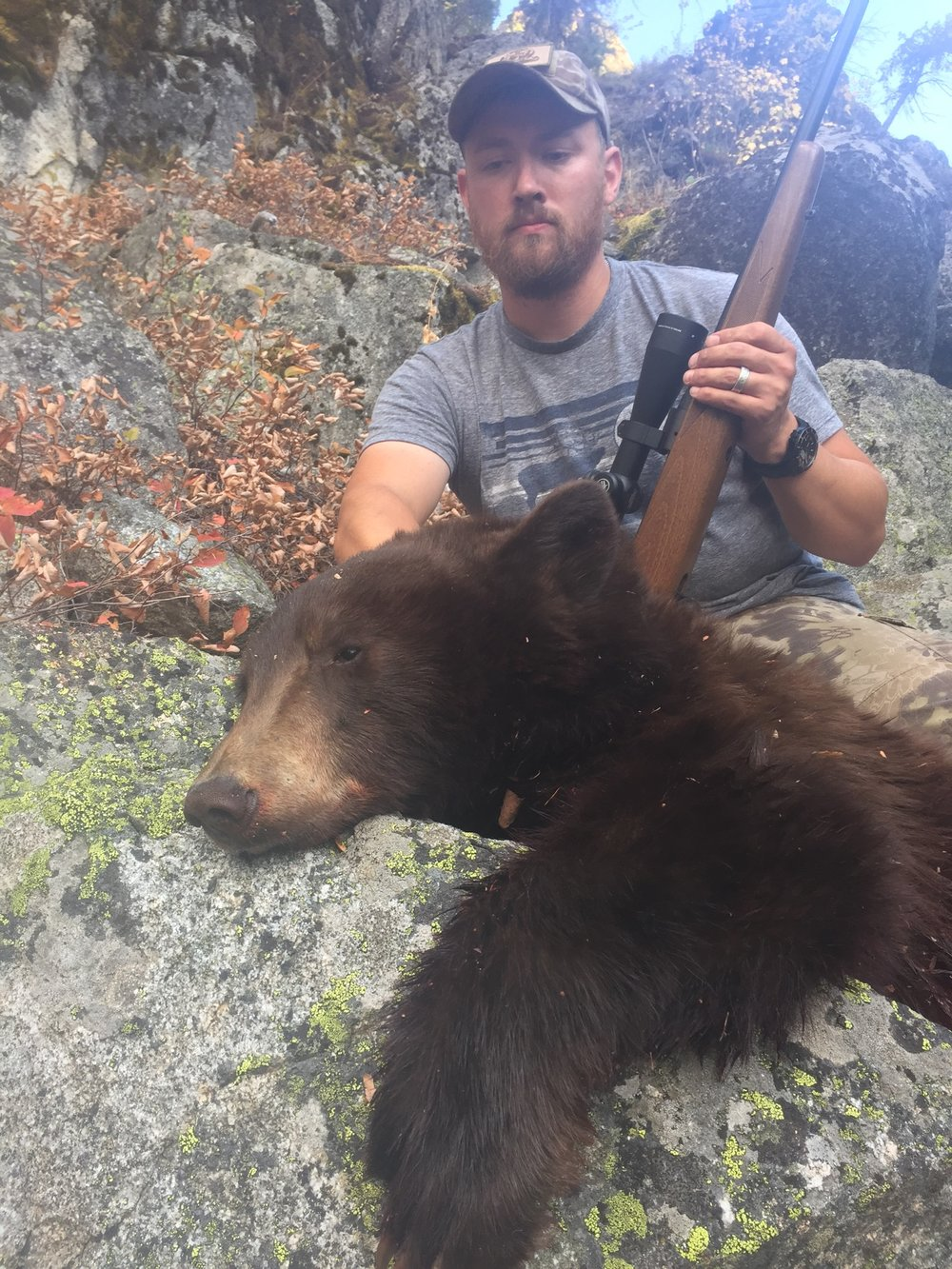 """...there is something different about shooting a bear from a deer. I thought of my family and thought of the meat I would be able to put on our table by taking this animal's life. I put the crosshairs back on the bear's chest, it was facing me, I squeezed the trigger."""