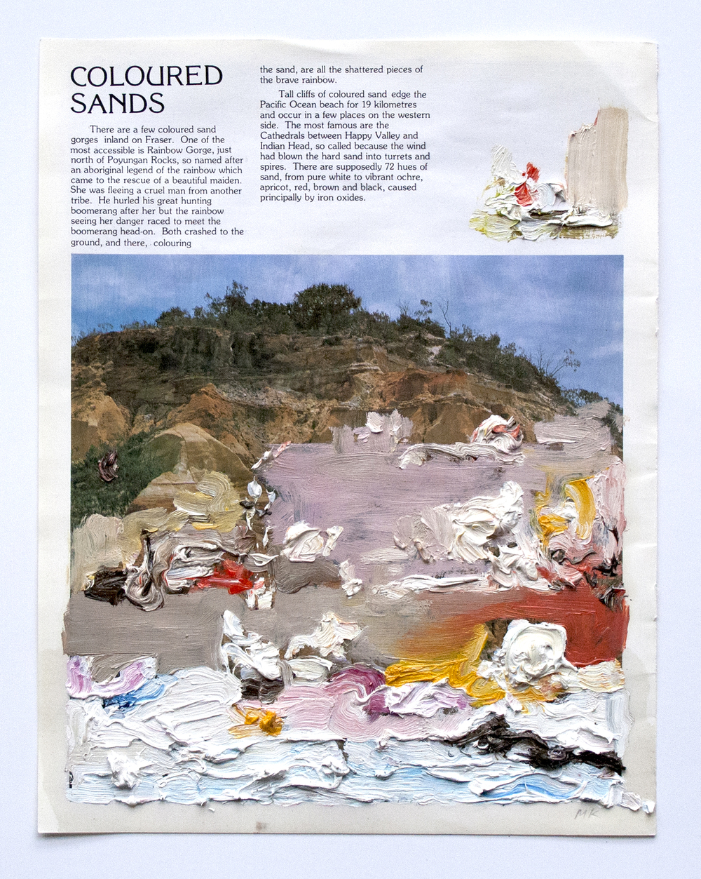 Coloured Sands  2014  Oil and PVA glue on magazine  21 x 29.7 cm