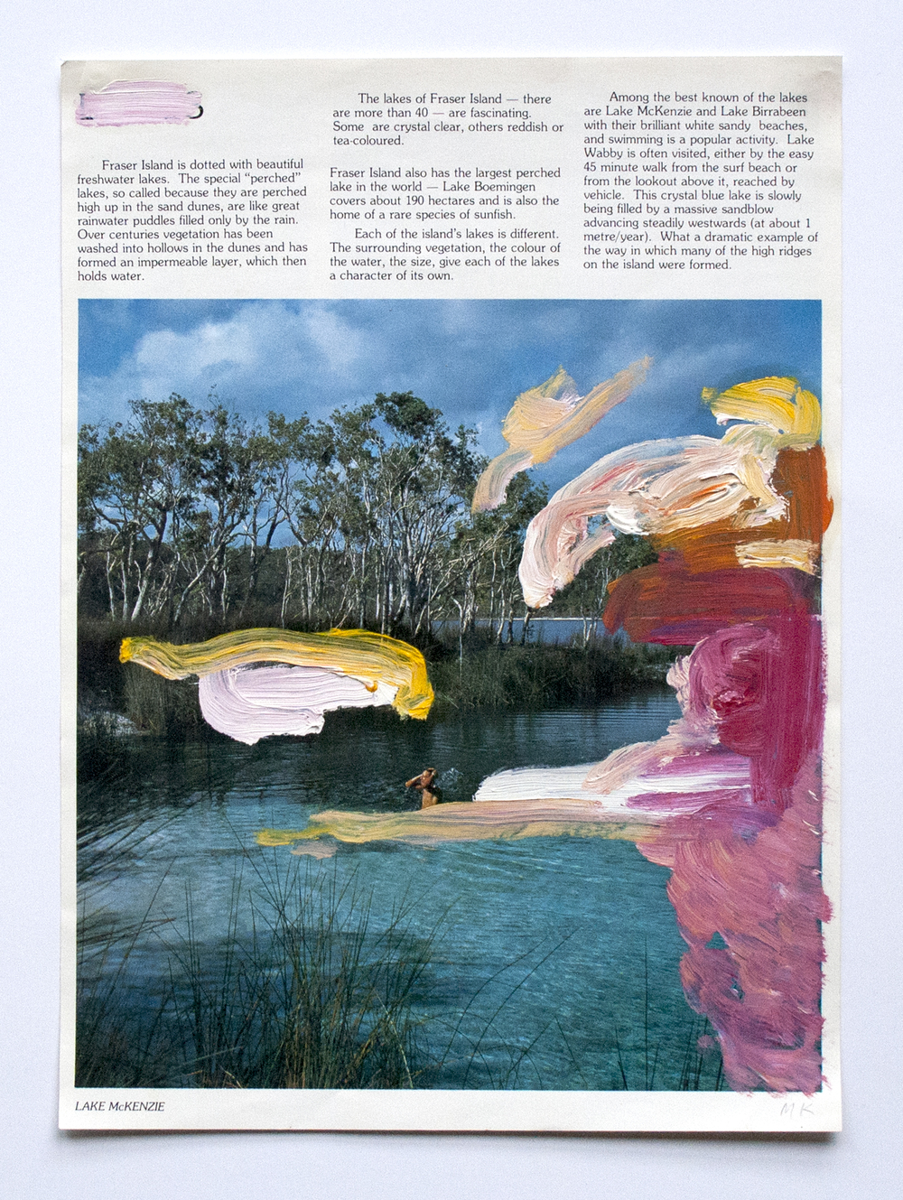 Lake McKenzie  2014  Oil and PVA glue on magazine  21 x 29.7 cm