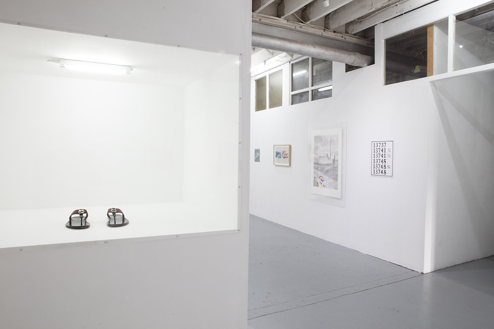 Installation shot featuring works by David Attwood and Darcey Bella Arnold  Photo courtesy LON Gallery