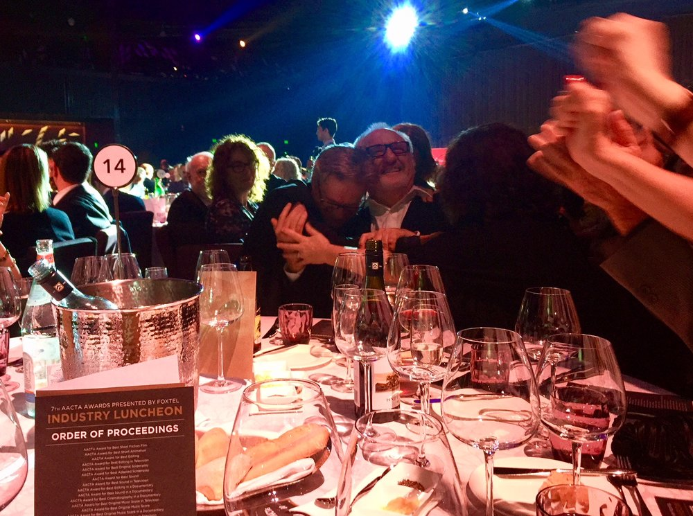 A moment of award-winning jubilation for editor, Lawrie Silvestrin, and director, James Bogle. Photo by Whiteley's impact producer, Felicity Blake.