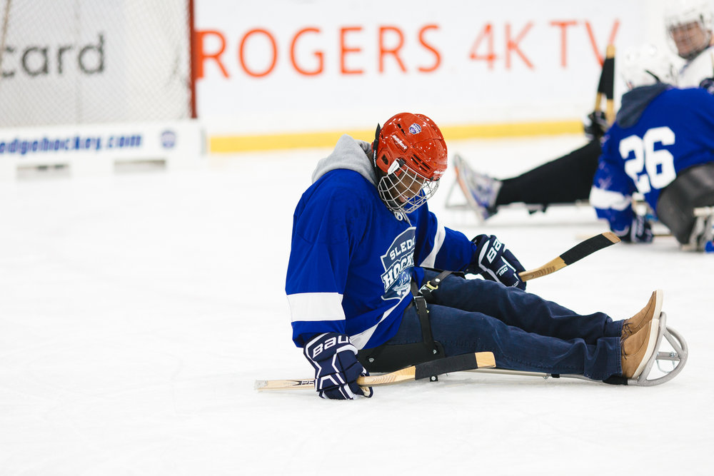 As a sledge hockey participant you will fall down, and at first it may seem difficult. However, this is part of the process we all must go through in order to develop resilience in our lives.