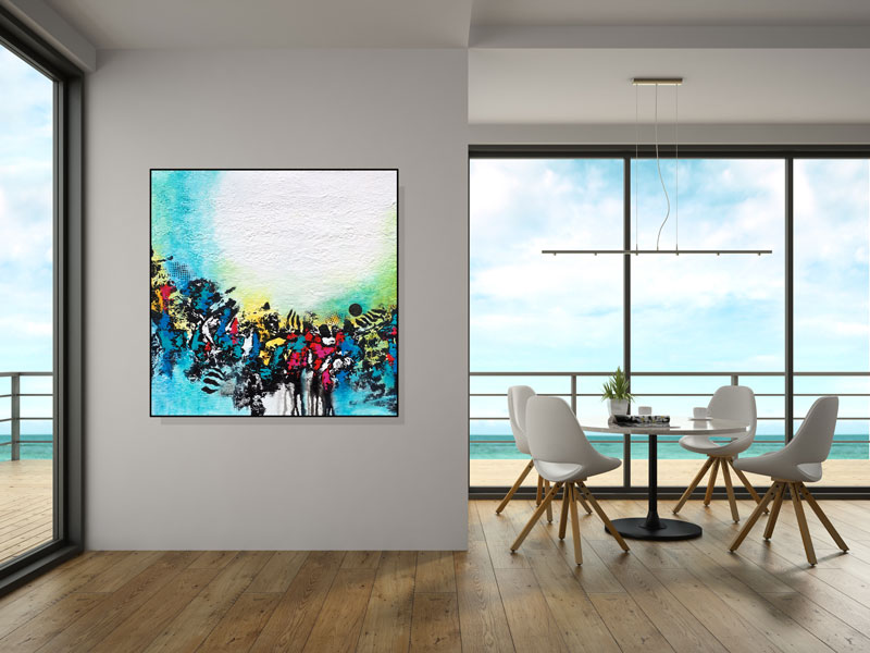 Art in room view is not to scale and the black frame is simulated.