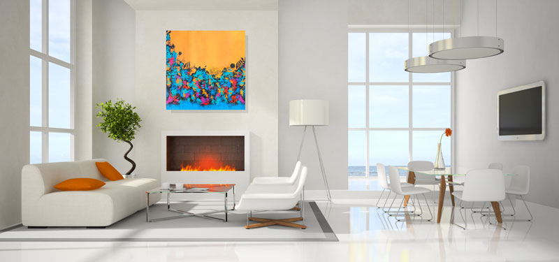 Artwork not to scale in roomview.