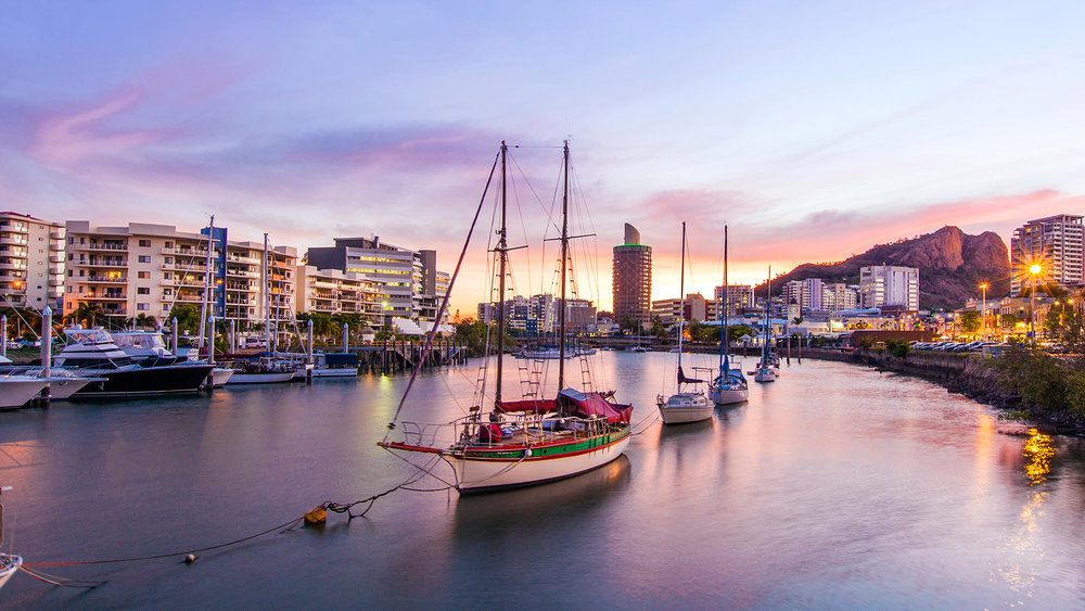Townsville City at sunset