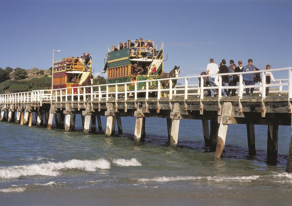 Catch the Horse-drawn Tram from Victor Harbor to Granite Island