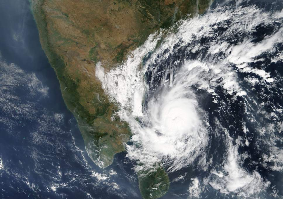 A Nasa satellite image shows Cyclone Gaja reaching the east coast of India late Thursday ( EPA )    Source:- https://www.independent.co.uk
