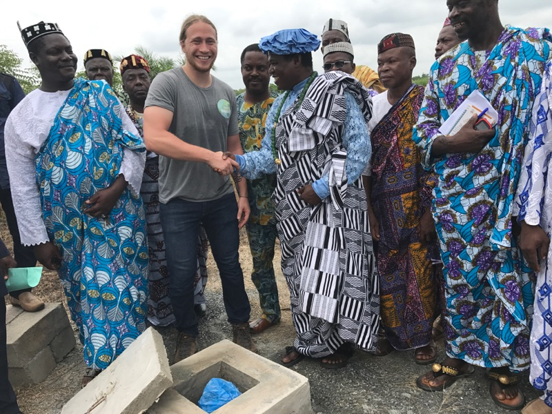 Dedication ceremony for the new well installation. Pictured: Gabriel Walder and local chiefs