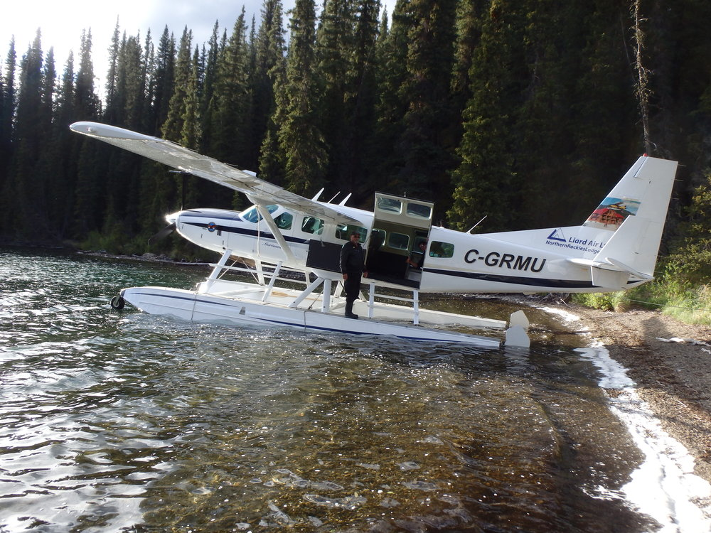 Cessna Caravan on amphibious floats beached on one of our fly in fishing lakes