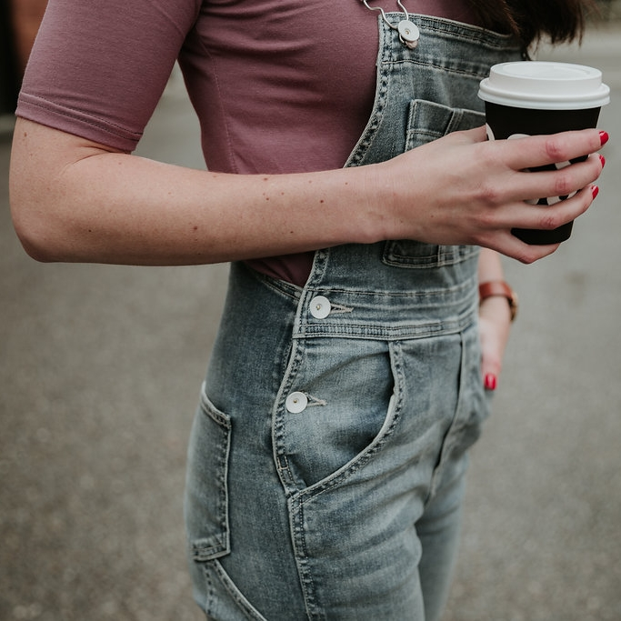 Morgan wearing the overalls.
