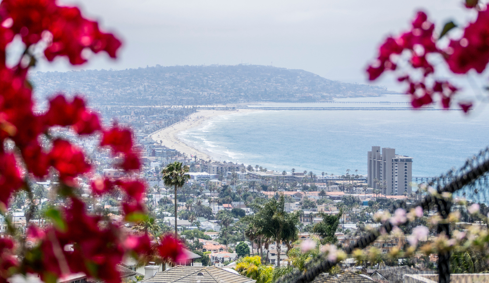 View of Pacific Beach and surrounding towns facing south from Mount Soledad, La Jolla