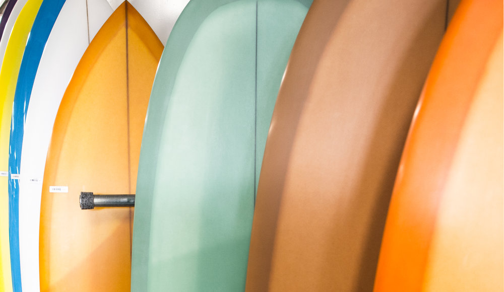 A local surf shops surfboard selection
