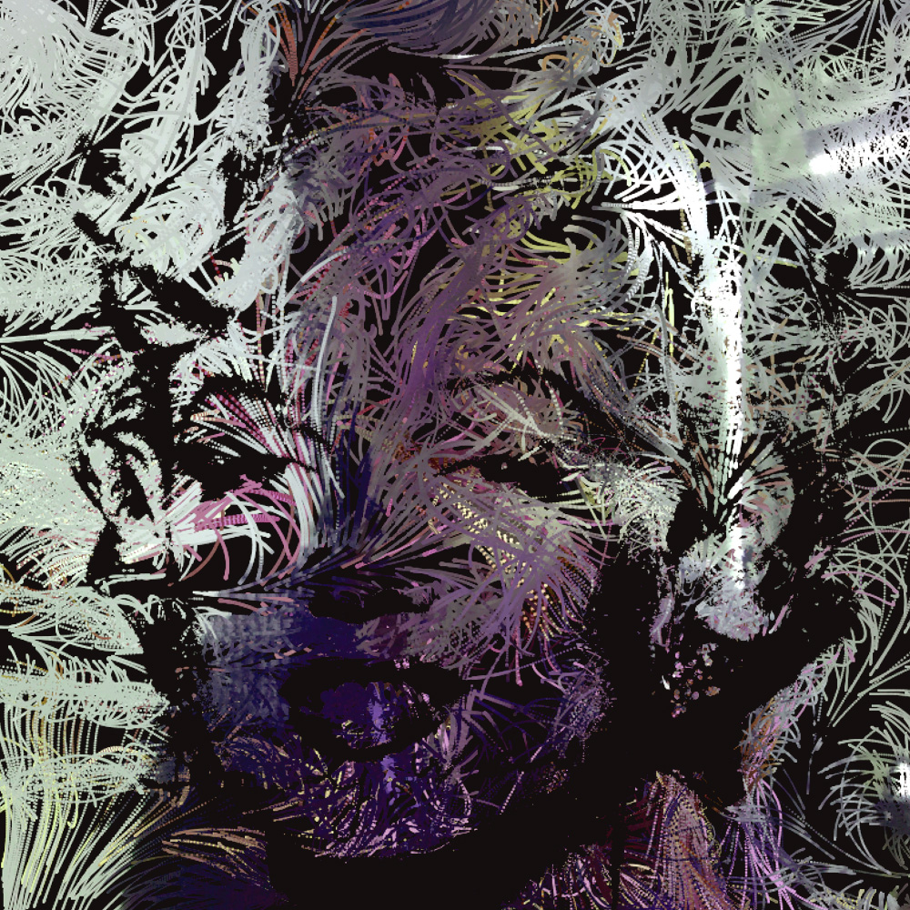 Description  : Using   Marilyn Monroe as a base image, then use web camera to capture color from outside. It's kind of like technique of printmaking.