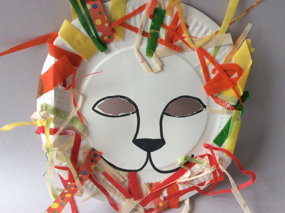 Plates are just the right shape to make masks. Carefully mark eyeholes to fit your childs face, then cut them out with scissors.