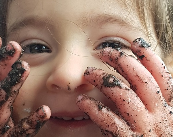 Even muddy fingers work for Peek-a-boo