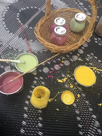 Cornflour paint coloured with food-based dyes was a bit hit at Nature play