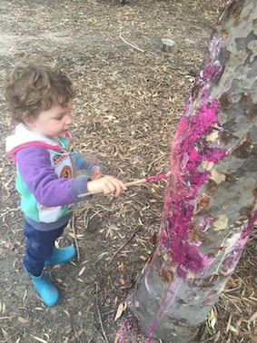 Painting the trees a vibrant beetroot purple