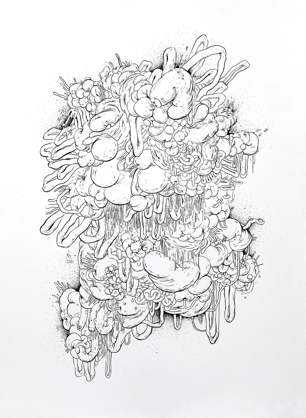 Mish-Mash No. 1,  ink on paper, 30 x 25.5 in