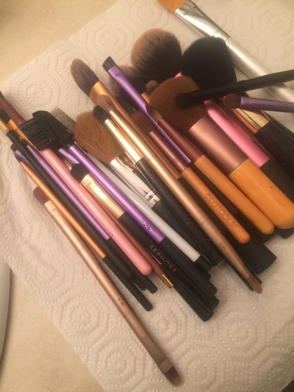 Pre cleaning brushes (I might have too many makeup brushes...)