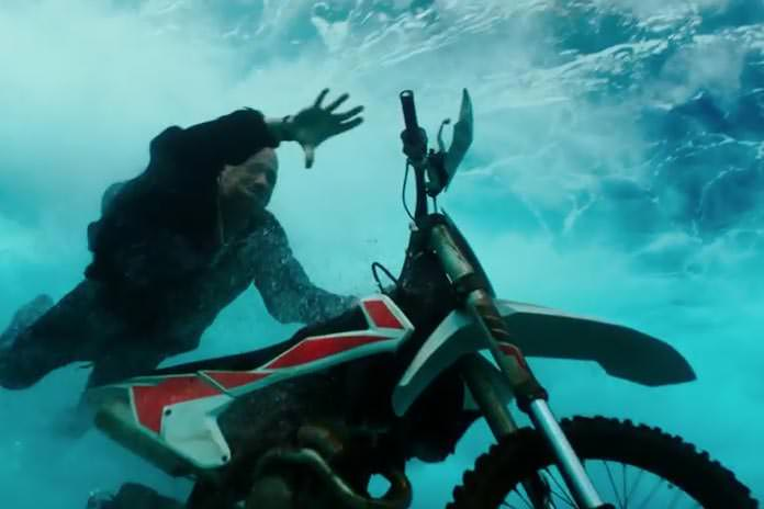 Yes that is Vin Diesel riding a Motorcycle underwater.