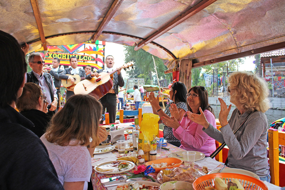 Food and mariachi on the waterways of Xochimilco