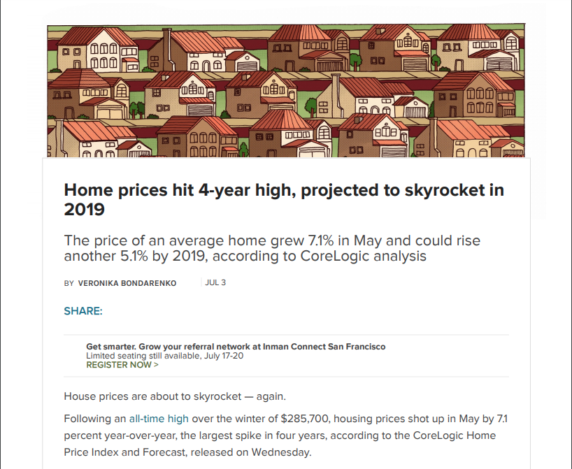 Home Prices Hit 4-year High. 7/3/18