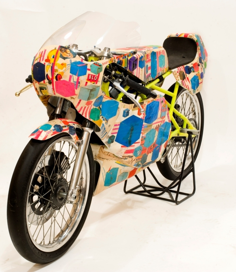 """The Perfect Machine"" collage on motorcycle, 2010 30 x 72 x 24in."