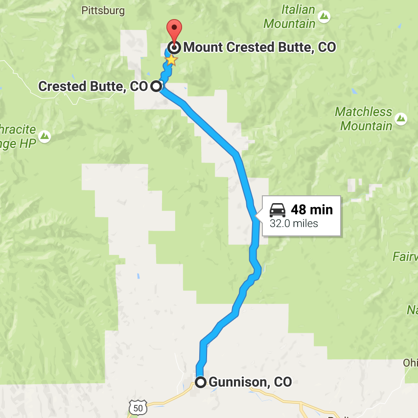 The full drive from Gunnison to Mt. Crested Butte, Colorado.