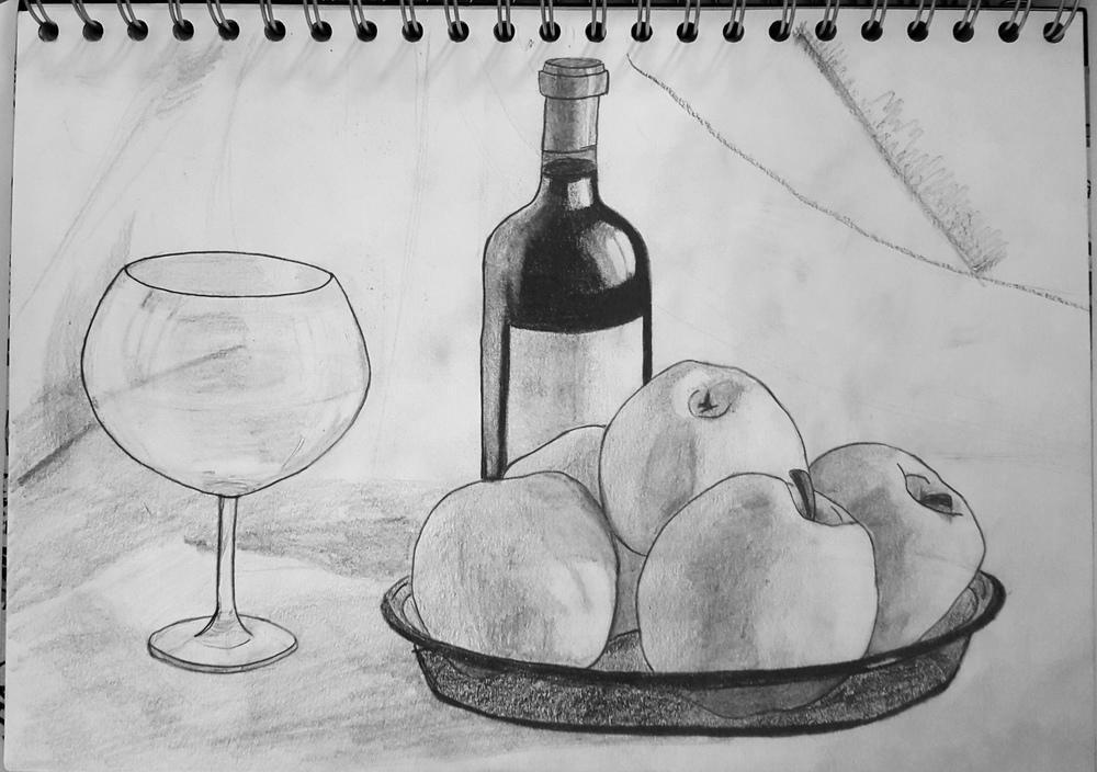 Wine & Apples Nature Morte