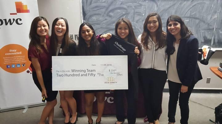 """The """"DWIB Team"""" consisted of Nivi Achanta, Chelsey Chen, Neha Jain, Isabel Ma, Mary Serafin."""