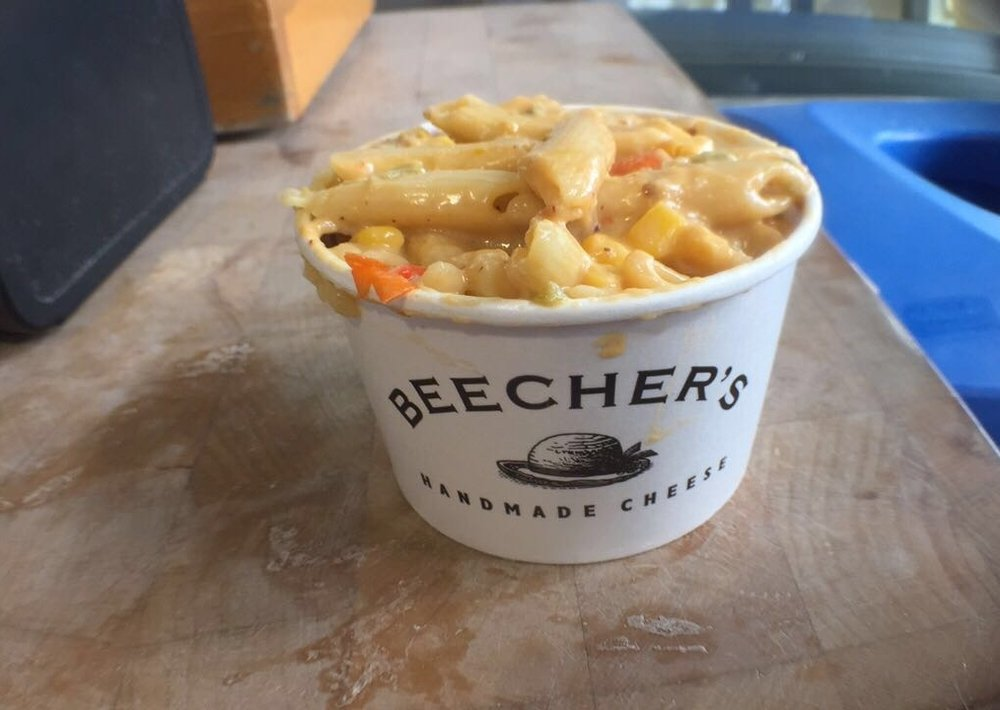 """Beechers Mac and Cheese"" - Fun fact: There was a huge tub of cheese right next to this cup!"