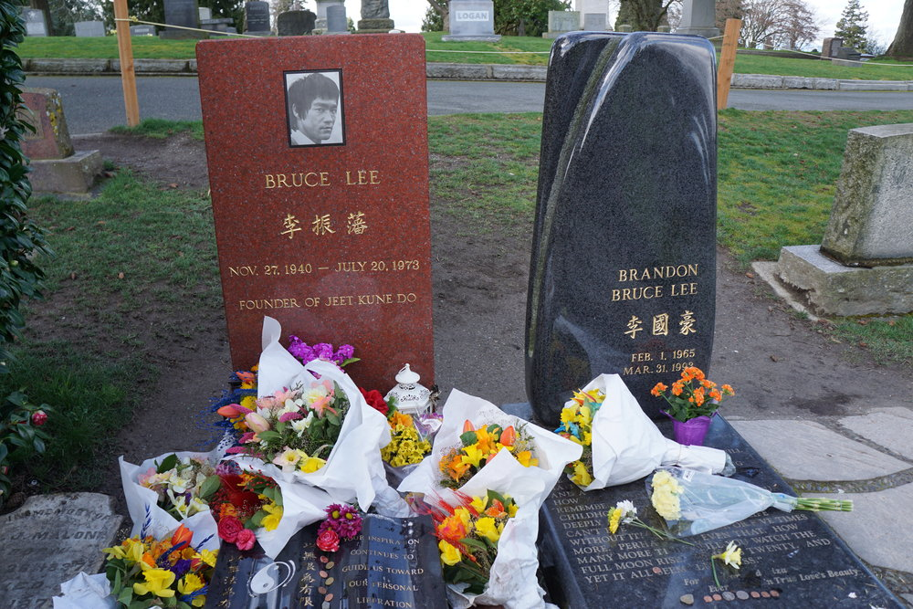 """Bruce lee Memorial""   Photo taken by Calvin Harjono - The famous martial artist, Bruce Lee was buried just North of Seattle at this memorial site."