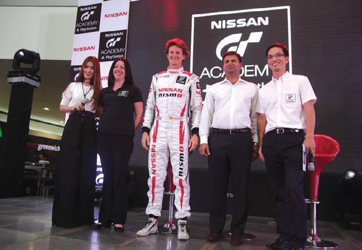 (L-R) Event host Janeena Chan, Nissan GT Academy Global Events Manager Nicki Hewson, NISMO Driver and first Nissan GT Academy Winner Lucas Ordoñez, NPI President and Managing Director Ramesh Narasimhan, and NPI General Manager for Marketing SJ Huh at the launch of the Nissan GT Academy Philippines 2016