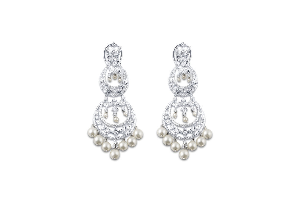 Diamond and South Sea Pearl Long Earrings