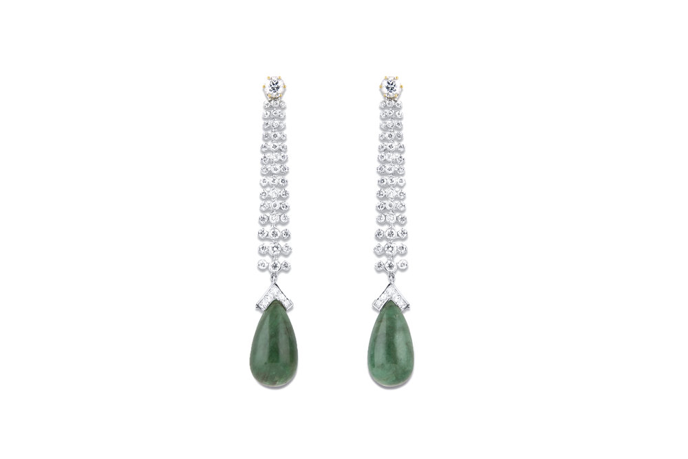 Diamond and Emerald Danglers