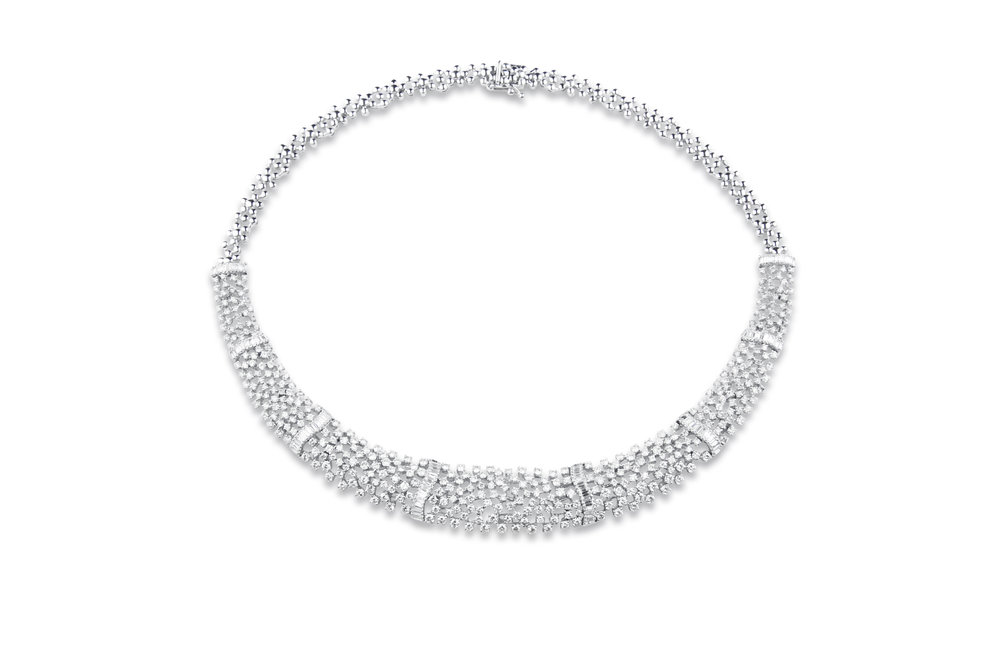 Diamond necklace with Brilliants and Baguettes