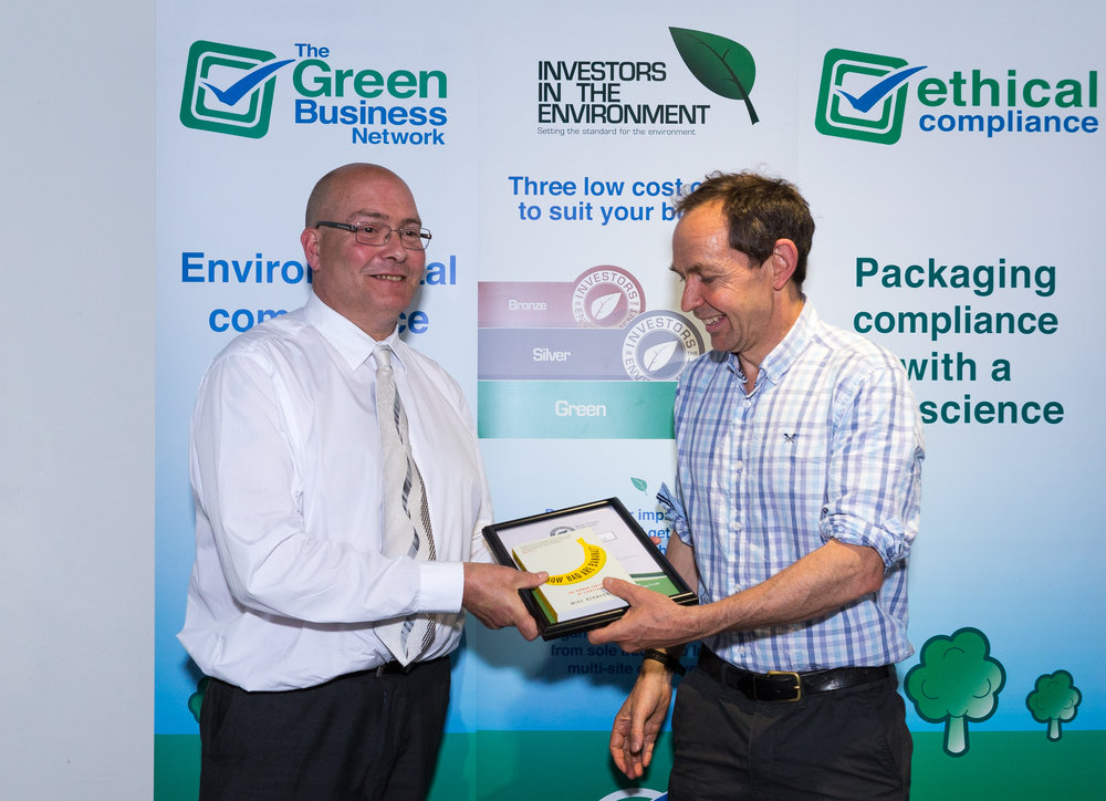 Chris Cole (left) receives his Best Green Champion Award from Mike Berners-Lee, guest speaker at the awards ceremony.