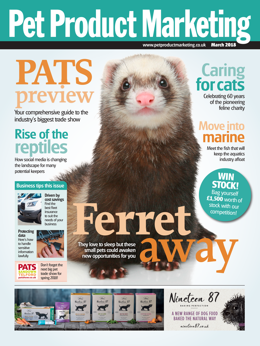 INSIDE THIS ISSUE:  FIND OUT MORE ABOUT FERRETS CELEBRATE 60 YEARS OF INTERNATIONAL CAT CARE PATS PREVIEW DIP YOUR TOE INTO MARINE AQUATICS
